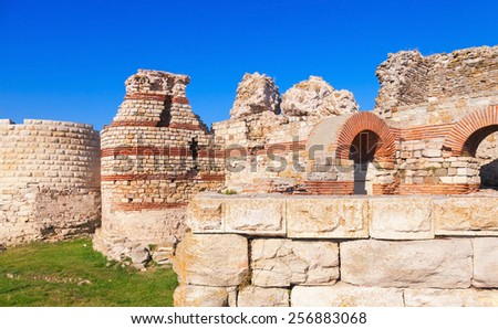 Ruined walls around the old Nessebar town, Bulgaria - stock photo