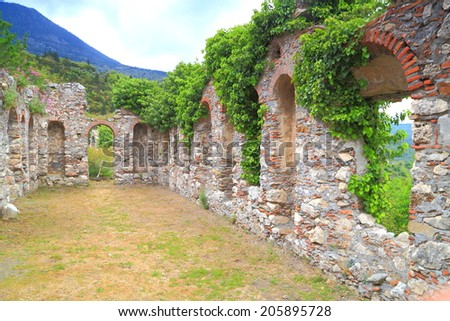 Ruined walls covered by ivy inside the Byzantine city of Mystras, Peloponnese, Greece - stock photo