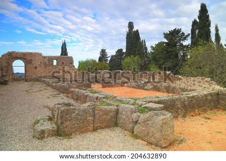 Ruined walls of the oracle of the dead at Ephyra, Greece - stock photo