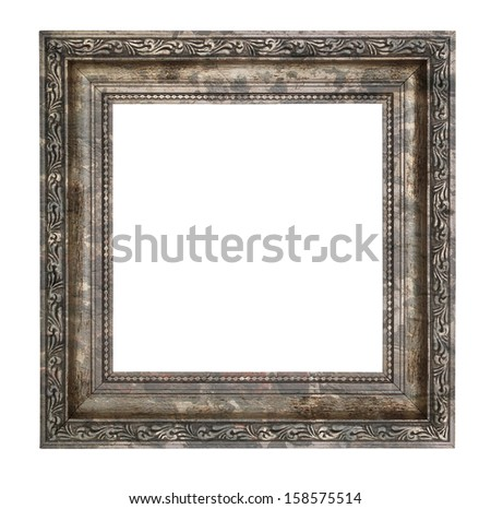 Ruined wooden frame with thick border isolated on white background - stock photo