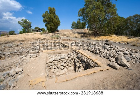 Ruines an excavations of houses in the biblical village Bethsaida which is located about 2 kilometers from the lake of Galilee