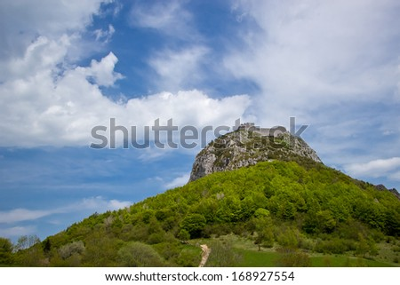 ruines of Montsegur castle near Ariege in France