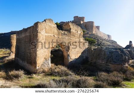Ruins and castle of Chinchilla.  Chinchilla de Monte-Aragon, province of Albacete - stock photo