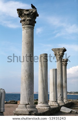 Ruins and column in a Khersones. Crimea. Ukraine. - stock photo