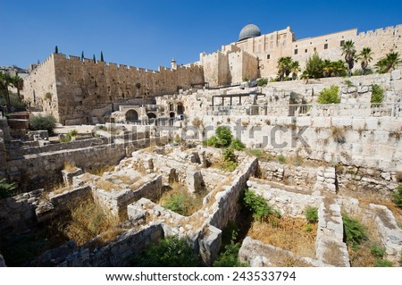 Ruins and remains in 'the ophel archaeological garden' just south of the temple mount in Jerusalem, in the city of David. - stock photo
