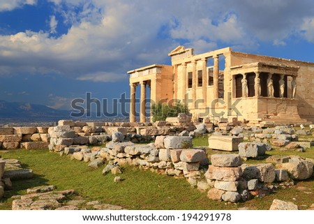 Ruins around the Erechtheion temple on the Athens Acropolis, Greece