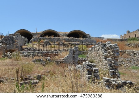 Ruins at Ancient Aptera Archaeological Site in Crete
