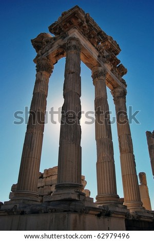 Ruins at the ancient city of Pergamon in Turkey. - stock photo