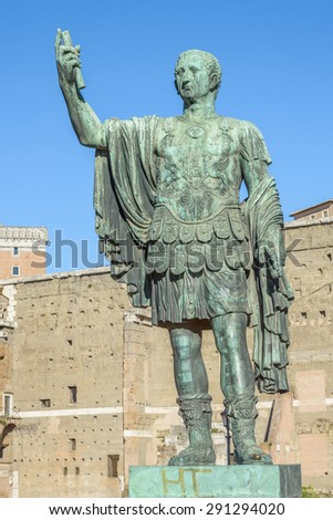 Ruins buildings and statue in the foro romano in Rome italy, emperor cesare - stock photo