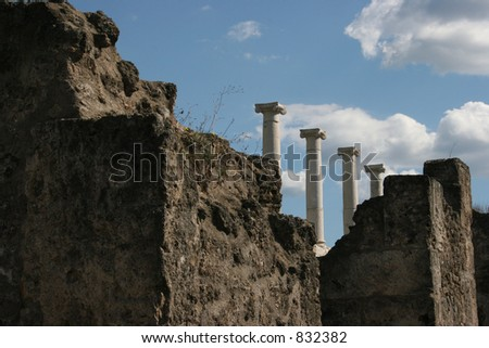 Ruins from Pompeii, Italy.  Dates back to 79AD. - stock photo