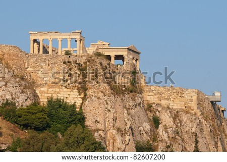 Ruins from the Acropolis, Athens, Greece - stock photo