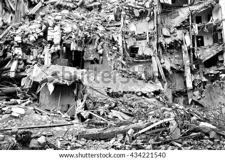 Ruins house on 2006 Israelâ??Hezbollah War ( maybe   Bombed-out or earthquake) - July War - stock photo