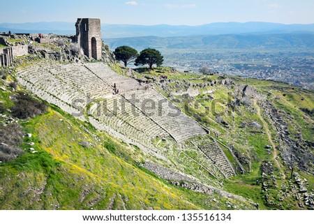Ruins in ancient amphitheater of Pergamon, Turkey - stock photo