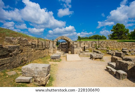 ruins in Ancient Olympia, Elis, Greece - stock photo