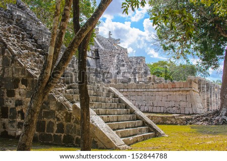 Ruins in Chichen Itza, a large pre-Columbian city built by the Maya civilization. Mexico - stock photo