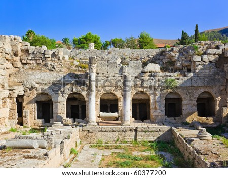 Ruins in Corinth, Greece - archaeology background - stock photo