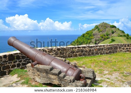 Ruins in Fort Rodney on Pigeon Island, Saint Lucia, Caribbean  - stock photo