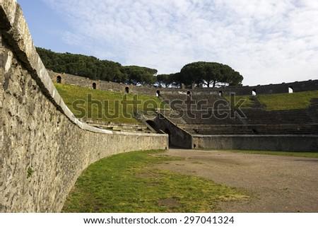 Ruins in Pompeii in Italy - stock photo
