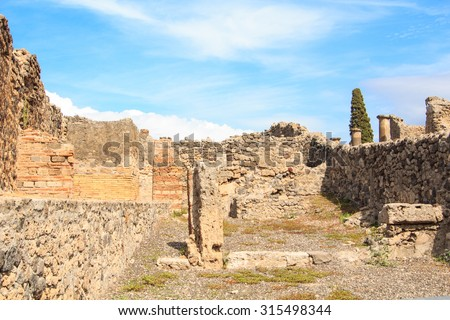 Ruins in Pompeii, Italy. Pompeii is an ancient Roman city died from the eruption of Mount Vesuvius in the 1st century. - stock photo