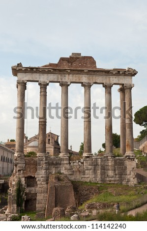 Ruins in Rome, italian arheology - stock photo