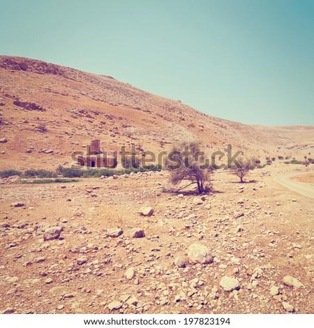 Ruins in Sand Hills of Samaria, Israel, Retro Effect - stock photo