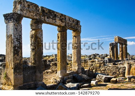 Ruins in the ancient town of Hierapolis near Pamukkale, Turkey