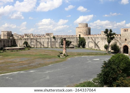 Ruins in the inner courtyard of Yedikule Fortress in Istanbul - stock photo
