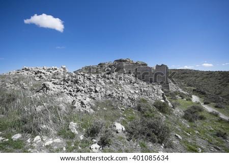 Ruins of a ancient castle Castillo de Oreja near to Madrid, Spain - stock photo