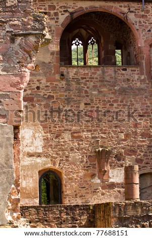 Ruins of a Castle in Europe, weathered over time. - stock photo