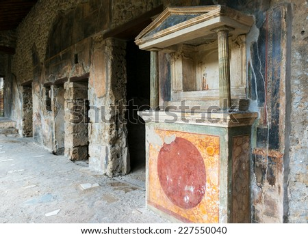 Ruins of a house in Pompeii. Pompeii is an ancient Roman city died from the eruption of Mount Vesuvius in 79 AD. - stock photo