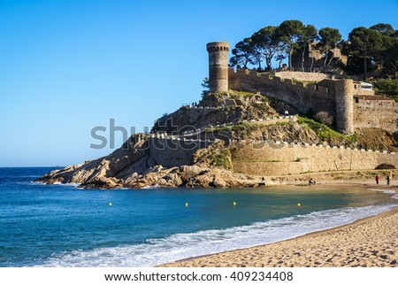Ruins of a medieval town at Tossa de Mar, Catalonia, Spain