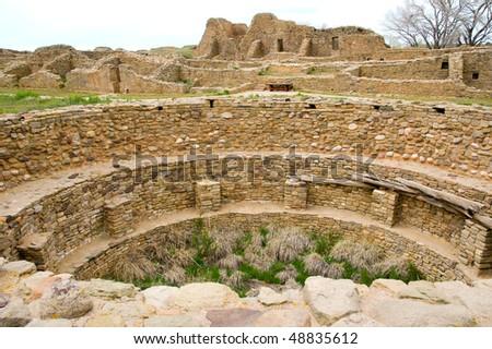 ruins of a native american indian kiva - stock photo
