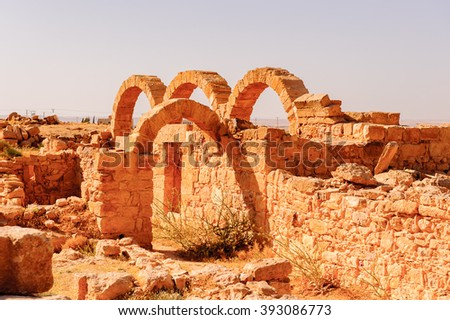 Ruins of a Roman house in Umm ar-Rasas,an archeological site in Jordan. UNESCO World heritage