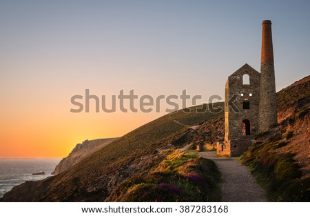 Ruins of a tin mine, Wheal Coates Mine, St. Agnes, Cornwall, England - stock photo