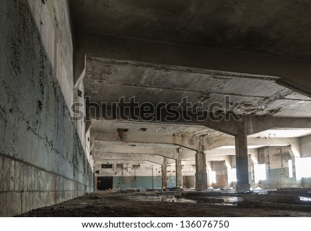 ruins of a very heavily polluted industrial factory, place was known as one of the most polluted towns in Europe - stock photo