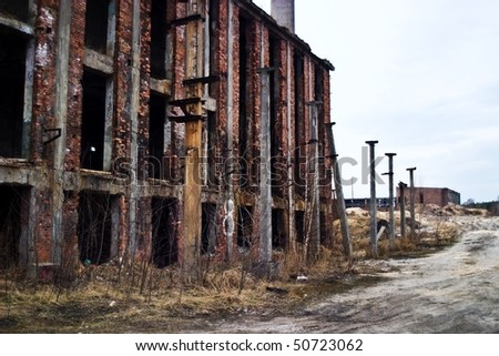 Ruins of a very heavily polluted industrial site, 1890's the place was known as one of the most polluted towns in Europe. - stock photo