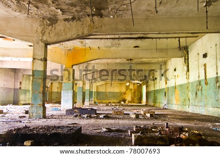 Ruins of a very heavily polluted industrial site, the place was known as one of the most polluted towns in Europe. - stock photo