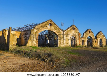 Ruins of abandoned loading bays for trucks and railway at Sao Domingos  mine in Alentejo, Portugal.