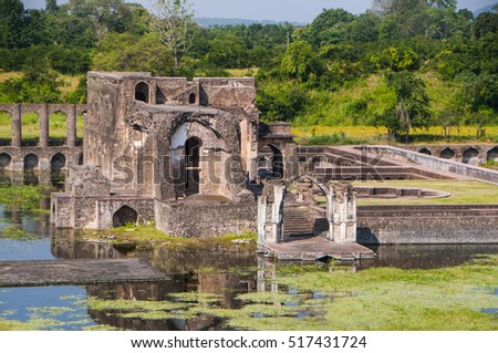 Ruins of Afghan architecture, Jahaz Mahal (Ship Palace) in Mandu, Madhya Pradesh, India.