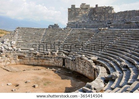 ruins of amphitheater in ancient Greek town of Xanthos Kinik, Antalya province, Turkey
