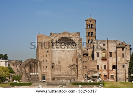 Ruins of an old building in the center of the ancient Roman Empire