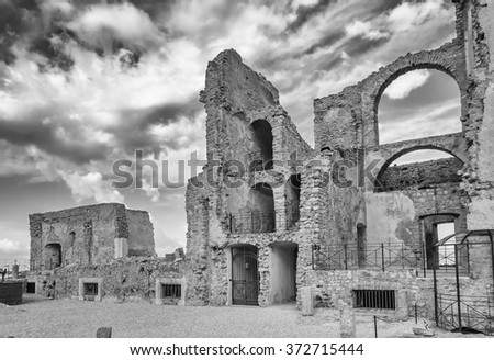 Ruins of an old castle in Fiumefreddo Bruzio, small village in south of Italy