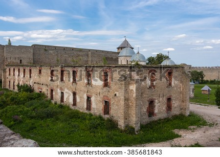 Ruins of an old Russian fortress in Ivangorod