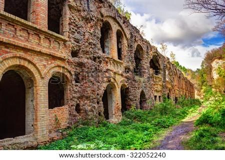 Ruins of an old Tarakanivsky Fort near Dubno, Ukraine - stock photo