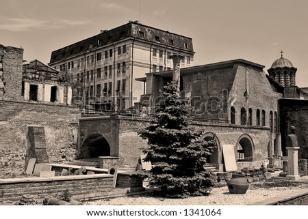 Ruins of an six hundrend years old palace in Bucharest - Romania
