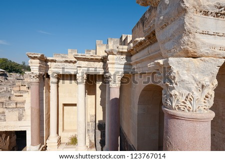 Ruins of Ancient Bet Shean which Collapsed during Earthquake - stock photo