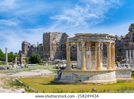 Ruins of ancient city in Side  - stock photo