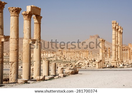 Ruins of ancient city of Palmyra - Syria (Before Civil War) - stock photo