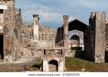 ruins of ancient city of Pompeii, destroyed by catastrophic volcano eruption. Italy - stock photo