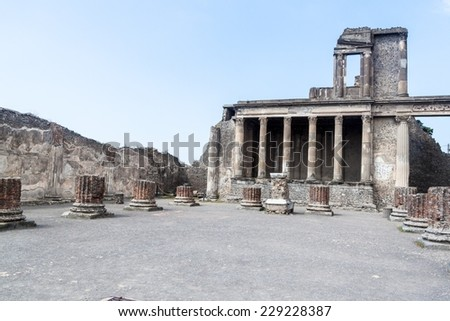 Ruins of ancient city Pompeii, destroyed by volcanic eruption of Vesuvio mountain, Italy